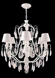 Lustre de cristal de rocha 7 lampadas