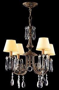 Lustre de cristal legitimo Asfour 4 lâmpadas com cúpula