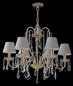 Lustre de Cristal legitimo Asfour Sevilla 6 lâmpadas com cúpula