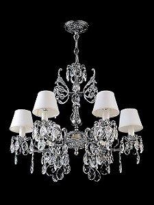 Lustre de Cristal legitimo Asfour Barroco 6 lâmpadas com cúpula Cromado