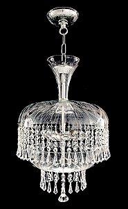 Pendente de cristal legitimo asfour 3 lâmpadas Cromado