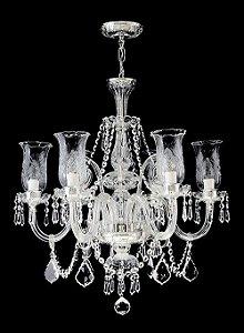 Lustre de Cristal legítimo asfour Maria Teresa Lapidado 6 lâmpadas Cromado