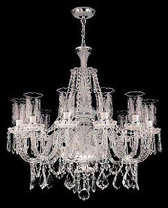 Lustre de Cristal legítimo asfour Maria Teresa 12 lâmpadas Cromado