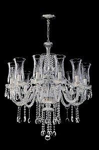 Lustre de Cristal legítimo asfour Maria Teresa Lapidado 12 lâmpadas - Amêndoa cromado