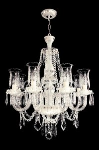 Lustre de Cristal legítimo asfour Maria Teresa 8 lampadas fosco cromado