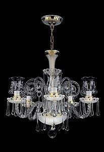 Lustre de Cristal legítimo asfour Maria Teresa 5 lampadas dourado