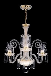 Lustre de cristal legítimo asfour Maria Teresa 3 lampadas gota fosco dourado