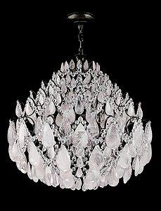 Lustre de Cristal de rocha branco Strauss 10 lampadas