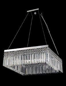 Lustre de Cristal Legítimo Asfour Quadrado 8 lampadas