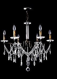Lustre de Cristal Legitimo Asfour 6 lampadas Ouro Velho
