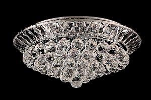 Plafon de cristal legitimo Asfour 4 lampadas redondo cromado