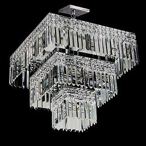 Plafon de cristal legitimo Asfour quadrado 3 saias 5 lampadas cromado