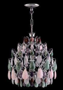 Lustre de cristal de rocha color 4 lampadas Cromado