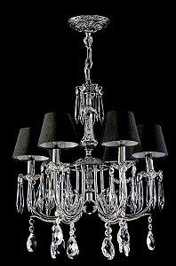 Lustre de cristal legitimo asfour 6 lampadas manga rica com cúpula cromado