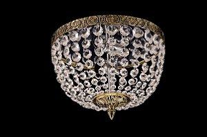 Plafon de cristal italiano legitimo império 4 lampadas aro simples Dourado