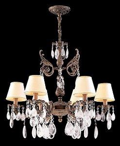 Lustre de cristal de rocha barroco 8 lampadas com cupula Ouro velho