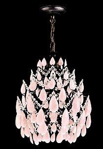 Lustre de cristal de rocha Rosa Strauss 4 lampadas Ouro Velho