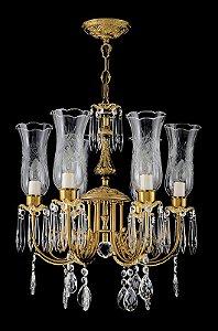 Lustre de cristal legitimo asfour 6 lampadas manga rica dourado