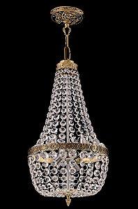 Lustre de Cristal Italiano Legitimo Imperio 4 lampadas Dourado
