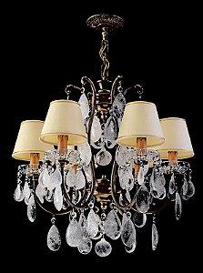 Lustre de Cristal de Rocha 6 Lampadas com cupula Dourado