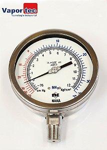 """Manovacuômetro Reto 4"""" (-76cm ) (+12kg) 1/2 INOX AMON"""