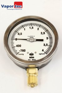 """Manovacuômetro Reto 4"""" (-760cm ) (+4kg) 1/2 AÇO CARBON"""