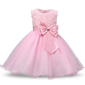 Vestido Rosa Flor - Tamanho 10