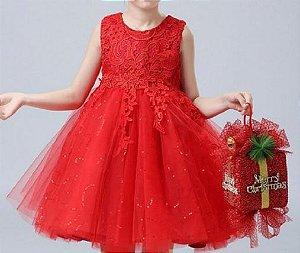 Vestido Vermelho Renda - Tamanho 3