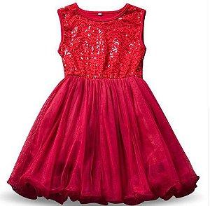 Vestido Vermelho Brilho - Tamanho 9