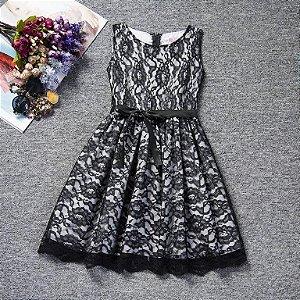 Vestido Renda Preto - Tamanho 8