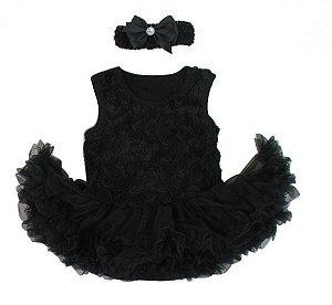 Bodysuit Preto com Tiara - 6 meses