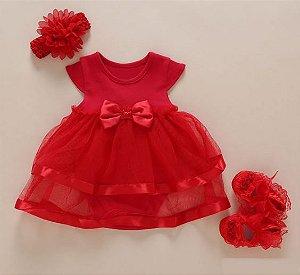 Bodysuit  Vestido Vermelho com Tiara e Sapatinho - 6 meses