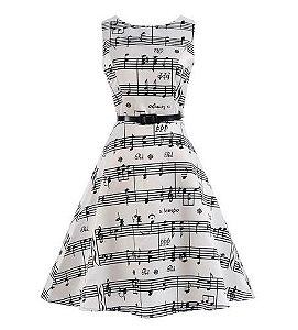 Vestido Notas Musicais - Tamanho 12
