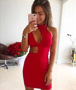 Vestido com Recorte Vermelho