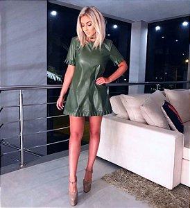 Vestido Couro Verde