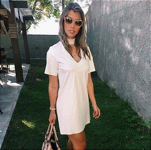 Vestido Couro Eco Off White