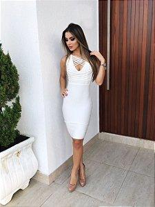 Vestido Bandage Branco Cruzado