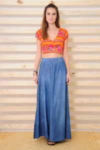 CROPPED FLORAL TRIBAL