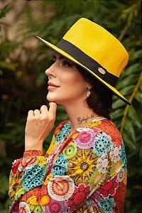 Chapéu Panamá Amarelo com Proteção Solar Sunprise