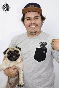 Camiseta Torresmo Dog com bolso - Cinza