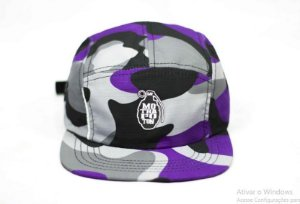 BONÉ FIVE PANEL MOTHAFOTOM RIPSTOP - CAMU/ROXO