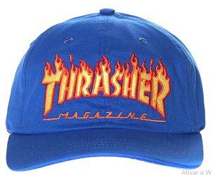 Boné Thrasher Magazine Flame Logo Snapback Azul