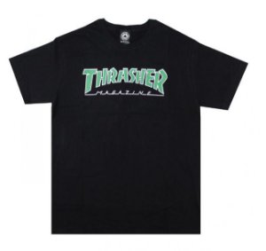 Camiseta Thrasher Outlined Preto - logo verde