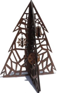 Arvore Natal madeira alt-40x32x32 cm com 4-pingente 3d