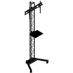 Suporte TV de chão torre triangular com rodas e bandeja de apoio - PBT1800