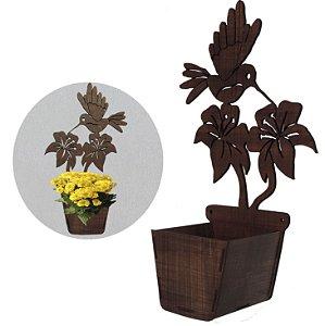 Cachepot de madeira decorativo beija flor