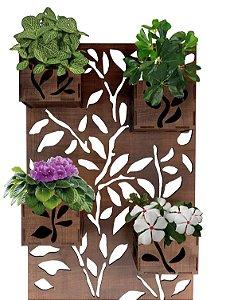 Painel Floreira Vertical De Madeira 45x70cm- 4 Cachepot