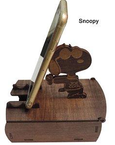Suporte Celular Mesa Madeira com porta treco Snoopy