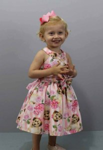 vestido Infantil katitus estampa de cachorro e rosas