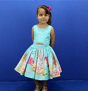 vestido infantil Katitus Sereia Fundo do mar